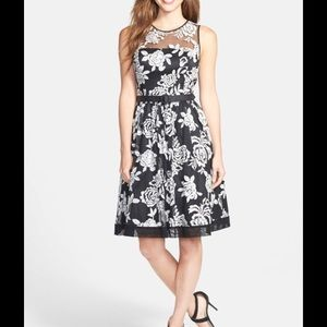 Eliza J Floral Embroidered Fit and Flare Dress